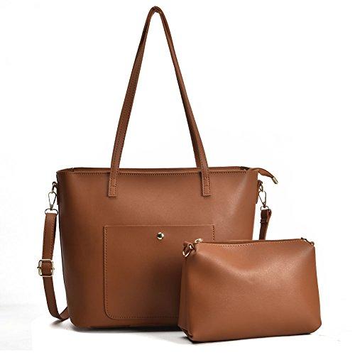 SALLY YOUNG - Bolsas de hombro grandes para mujer, de piel sintética, 2 unidades, color Marrón,...