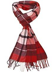 Kaschmir Frauen-Schal Rot - Lovarzi Karierte Kaschmir Schal für Damen - Made in Großbritannien