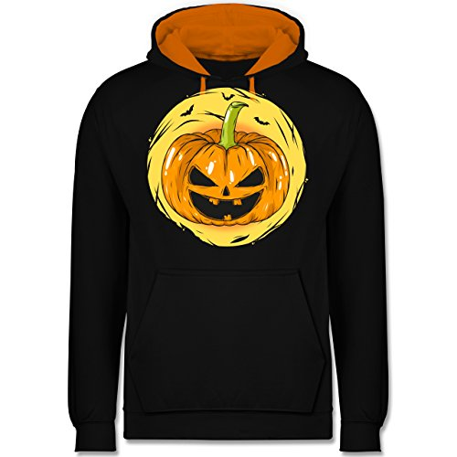 Halloween - Halloween Kürbis Gesicht - XXL - Schwarz/Orange - JH003 - Kontrast Hoodie