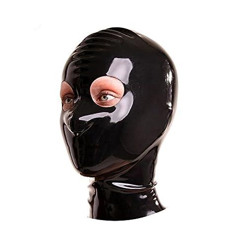 EXLATEX Latex en caoutchouc fetish Accessoires Masque ¨¤ capuche avec fermeture ¨¤ glissi¨¨re avec le trou rond pour