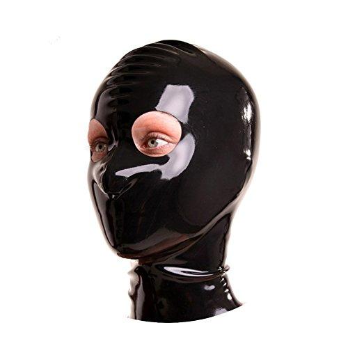 EXLATEX Latex Gummi Fetisch Zubeh?r Hood Mash mit Rei?verschluss mit dem Round Hole f¨¹r die (Kostüme Kit Catwoman)