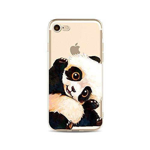 iPhone SE Hülle Panda, iPhone 5S HandyHülle Silikon Niedlich Panda Tier Muster Slim Gel TPU Transparent Schutzhülle für iPhone SE/iPhone 5S Durchsichtig Dünn Stoßfest Gummi Clear Bumper Cover