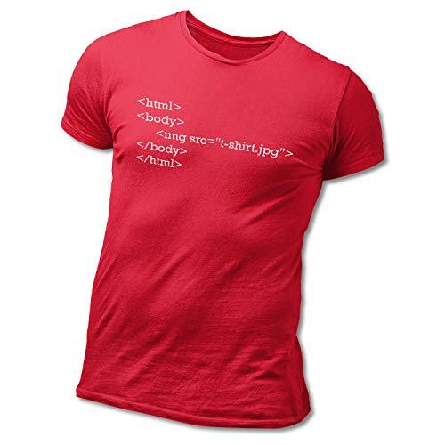 HAPPY FREAKS Spruch-T-Shirt 'HTML' - Herren/Unisex Rundhals-Funshirt 3XL Red