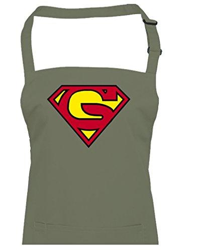 Supergran- Supergrandad Super Hero Grandma-grandad inspiré du film Unisexe Tablier de cuisine, vert olive, Taille Unique