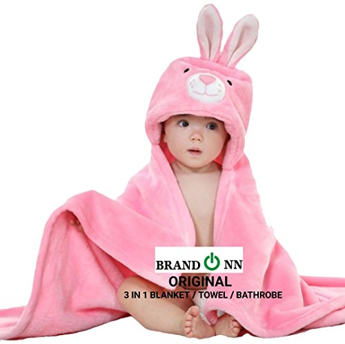BRANDONN Ultra Soft Organic Premium Bathrobe Cum Bath Gown For Babies Cum Baby Bath Towel(Pink Rabbit)