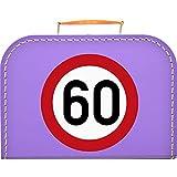 Pappkoffer Zum 60 Geburtstag - Verkehrsschild Koffergröße 30 x 20,5 x 9 cm, Farbe lila