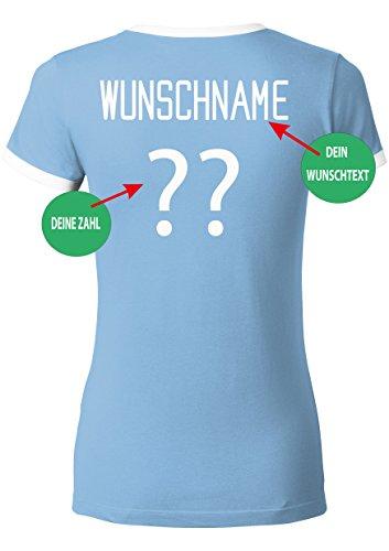 EZYshirt WM 2018 Deutschland T-Shirt Damen Wunschname und Wunschnummer Damen | Blau
