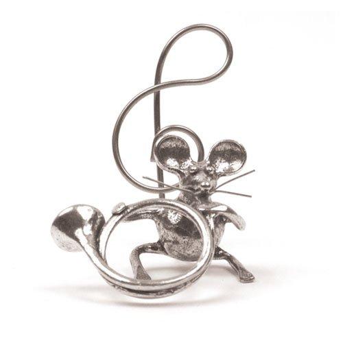 Souris Cor De Chasse Miniature - Porte-Photo - Etain 95,5% - Fabriqué en France - Objet déco - Cadeau musique