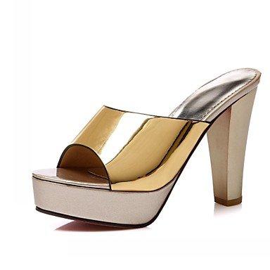LvYuan Damen-Sandalen-Hochzeit Büro Lässig Party & Festivität Kleid-Kunststoff Kunstleder PU-Blockabsatz-Komfort Neuheit-Schwarz Silber Gold Gold