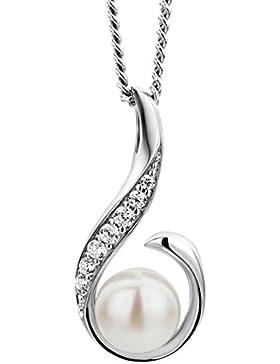 Miore Damen Halskette 925 Sterling Silber rhodiniert mit perle und Zirkonia 45 cm
