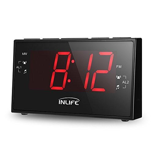 INLIFE Radio Despertador Reloj Digital con Gran Pantalla LCD DE 1,8 Pulgadas Función de Radio FM/Am Temporizador Alarma Dual