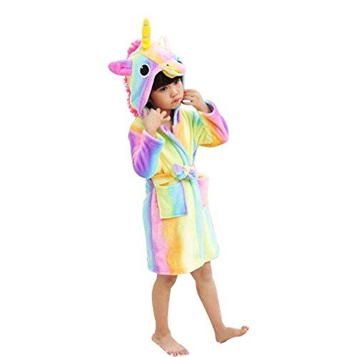 RGTOPONE Kids Soft Bathrobe Unicorn Fleece Hooded Sleepwear Robe Luxurious Dressing Gown Warm Comfortable Nightwear Cute Loungewear Housecoat