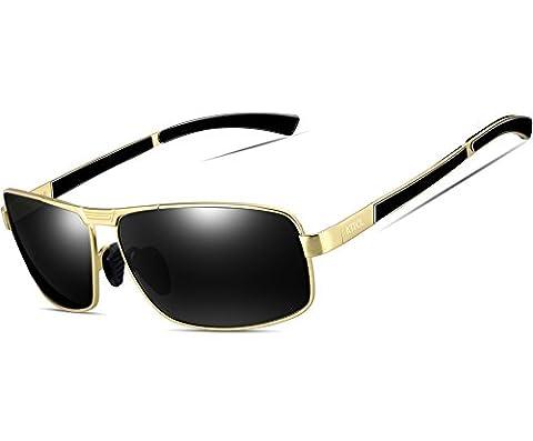 ATTCL Men's HOT Metal Frame Driving Sport Polarized Sunglasses Mens12490gold-gray
