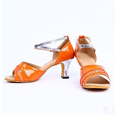 Chaussures De Danse-non-personnalisable-femmes / Danse Latino-américaine / Jazz / Baskets De Danse Modernes / Modern-square-fake Leather- Orange