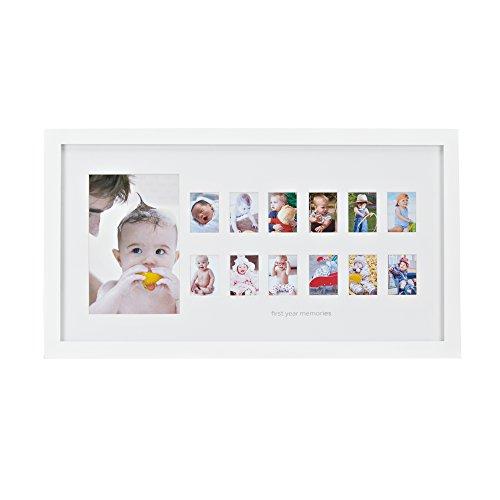 First year memories photo frame - Mein erstes Jahr Baby- Bilderrahmen für die ersten 12 Monate, Holz-Rahmen mit Glasscheibe und Passepartout