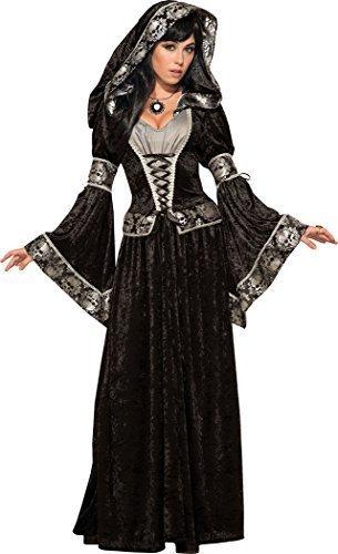 loween Kostüm Party dunkel Zauberin Kostüm UK Größe 10-14 (Dunkle Zauberin Erwachsenen Kostüme)