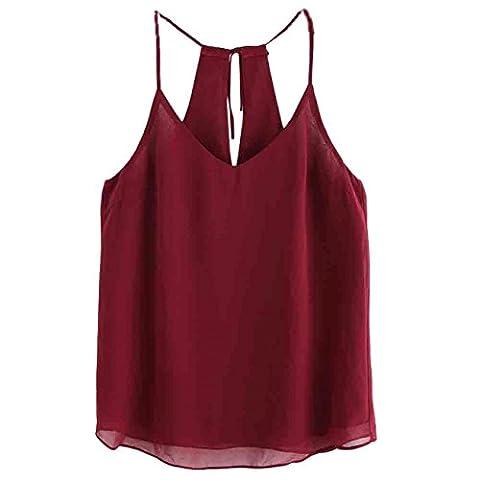 CYBERRY.M Débardeurs Femme Été Sans ManchesCol V BretellesT-shirt Blouse Tank Top (M, Red)