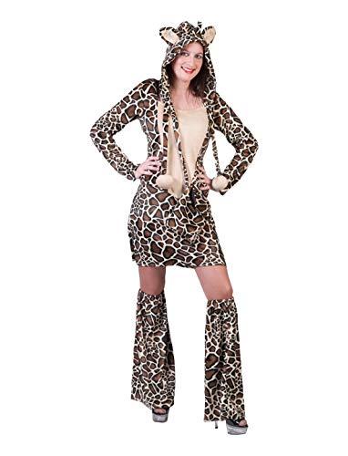 Frauen Kostüm Plüsch Fell Giraffen Kleid mit Kaputze und Überstiefeln, Dress Hood and Leg Covers, perfekt für Karneval, Fasching und Fastnacht, L/XL, Braun ()