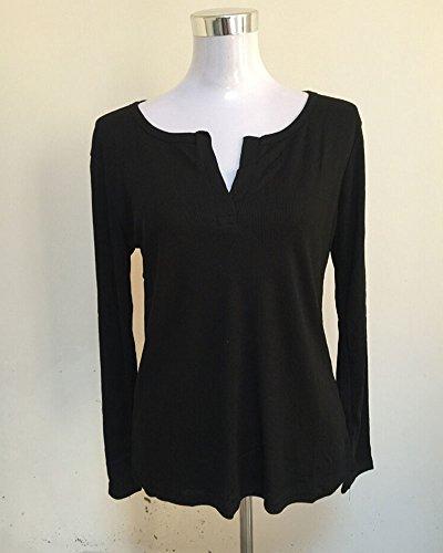 Donna Camicetta con scollo a V Maglia a Manica Lunga Camicia Pullover Camicetta T-shirt Tops Blusa Nero