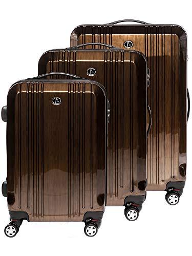 FERGÉ Kofferset Hartschale 3-teilig Cannes Trolley-Set mit Handgepäck 3er Set Hartschalenkoffer Roll-Koffer Reise-Trolley mit 4 Rollen ABS & PC Bronze