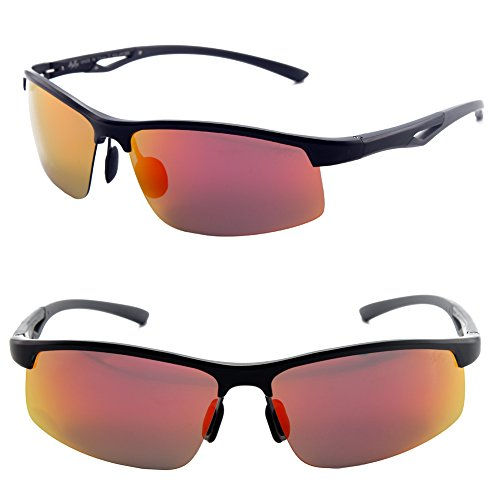 Männer Frauen Stil polarisierte Sonnenbrille Metallrahmen Sportbrillen (Schwarz, Rot)