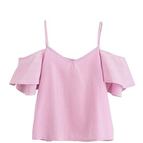 TEBAISE Mode Frauen Urlaub Strand Schwimmen Anzug Sunwear Sommer Nadelstreifen Bluse Kalt Schulter Top Cami Weste(Rosa,EU-44/CN-XL) (Tragen Nadelstreifen-anzug Sie)