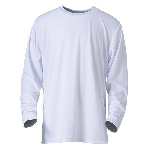 Ouray Sportswear Performance Long Sleeve Tee, White, Large