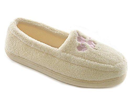 Donna Spugna Pile Ricamato Pantofole Crema
