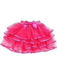 Free Fisher Niñas Falda Vestido capas Tutú Ropa de Baile Fiesta Casual, Rosa, 18 meses-3 años(Talla fabricante: 100)