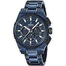 Orologio Uomo Quarzo Festina display Cronografo cinturino Placcato in acciaio inox Blu e quadrante Blu  F16973/1