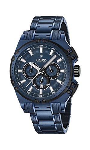 Festina Herren Chronograph Quarz Uhr mit Edelstahl beschichtet Armband F16973/1
