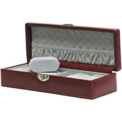 """Davidt's Unisex Watch Box For 6 Watches """"Chrome"""" 378906.14 Red"""