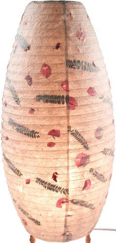 Guru-Shop Corona Reispapier Stehlampe 60 cm, Lokta-Papier, Papierlampenschirme Oval