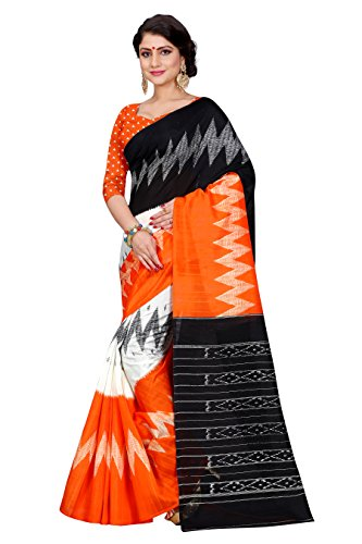 Sugathari Sarees Women\'s Orange and Black Mysore Bhagalpuri Art Silk Saree (Bhagalpuri Sarees 61 Orange Black)