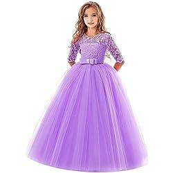 7460e33bd896 feiXIANG Ragazze Principessa Vestito Costume Abito da Cerimonia Nuziale con  Fiocco Ricamato Abito Natale Bambina Abiti
