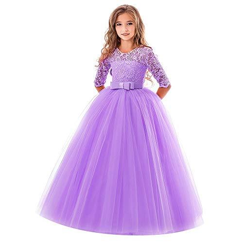 Vovotrade✿4-9 anni ragazza ricamato gonna abito da ballo prestazioni, arco in pizzo per bambini principessa abito da sposa manica a cinque punti spettacolo vestito tutu
