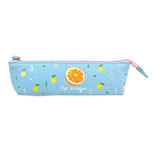 fabl Crew 1Trousse Crayon sac papier à lettre poche de papeterie BOX créatif papier à lettres bleu motif orange Toile Design fermeture Éclair 18* 5* 5,5* 3cm Fablcrew