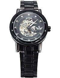 Hermosos Relojes mecánicos Sewor / 614-2 Mechanical señoras Reloj Correa de Acero Hueco Reloj