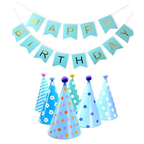 VerteLife Geburtstag Dekoration Set, 6 Partyhüte aus Papier Party Kegel Hüte mit Pom poms + 1 Happy Birthday Banner Girlande Geburtstag Girlande, Partyzubehör für Kinder Erwachsene