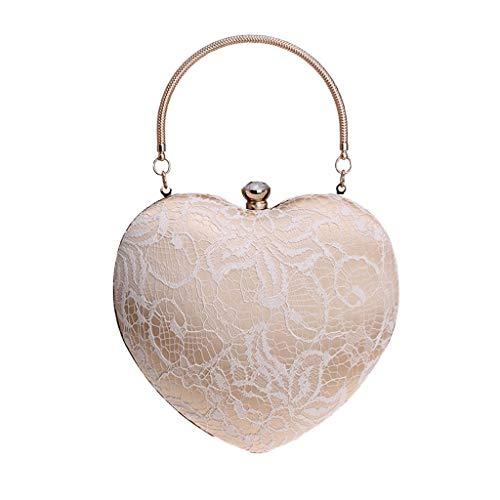 Mitlfuny handbemalte Ledertasche, Schultertasche, Geschenk, Handgefertigte Tasche,Frauen arbeiten Pfirsich-Herz-Abend-Handtaschen-Partei-Kupplungs-Geldbeutel-Schulter-Kreuz-Beutel um