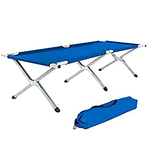 TecTake XL heavy duty super light folding camp camping guest bed 150kg +bag blue