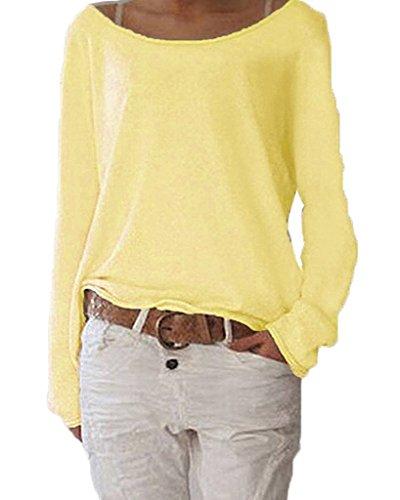ANDERINA New Damen Pulli Langarm T-Shirt Rundhals Ausschnitt Lose Bluse Langarmshirts Hemd Pullover Oversize Sweatshirt Oberteil Tops Shirts Gelb L