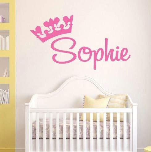 sierte Name Aufkleber Princess Crown benutzerdefinierte Namen Grafik, Mädchen Kinderzimmer Wandtattoo, Zimmer Vinyl Aufkleber Wandbilder ()