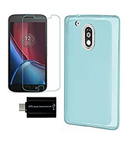 Moto G Plus, 4th Gen / Moto G, 4th Gen PRINTZ Blue Soft Matte Back Cover case + TEMPERED GLASS SCREEN PROTECTOR + OTG ADAPTER COMBO