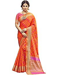 [Sponsored]Shangrila Women's Orange Colour Pochampally Woven Silk Saree With Stitched Free Size Blouse