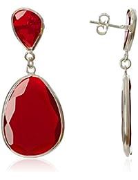 Córdoba Jewels | Pendientes en plata de Ley 925 con piedra semipreciosa. Diseño Luxury Rubí Plata