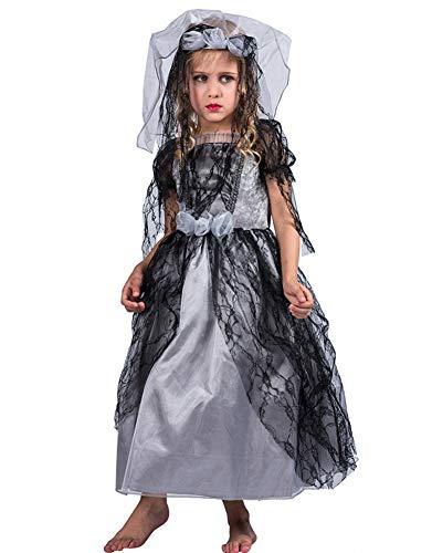 Ghost Bride Kostüm Kind - WSJ Halloween Kostüm für Mädchen, Ghost Bride Kleid Halloween Kostüm Kinder Cos Kostüm Kleid Ghost Bride Beinhaltet Rock und Kopfbedeckung,S
