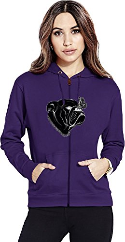 Dog And Butterfly Womens Zipper Hoodie X-Large -