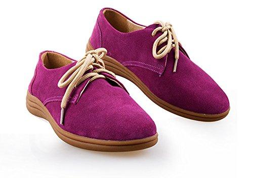 Summer Mae Femme Derbies A Lacets Chaussure De Cuir A Grain Violet