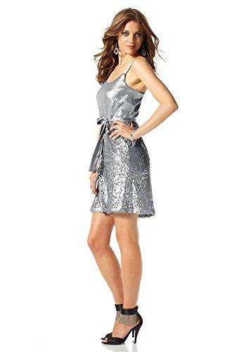 Laura Scott Evening Damen-Kleid Paillettenkleid Silber Größe 40 - 3